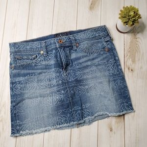 LUCKY BRAND Denim Mini skirt Size 4 Batik Pattern